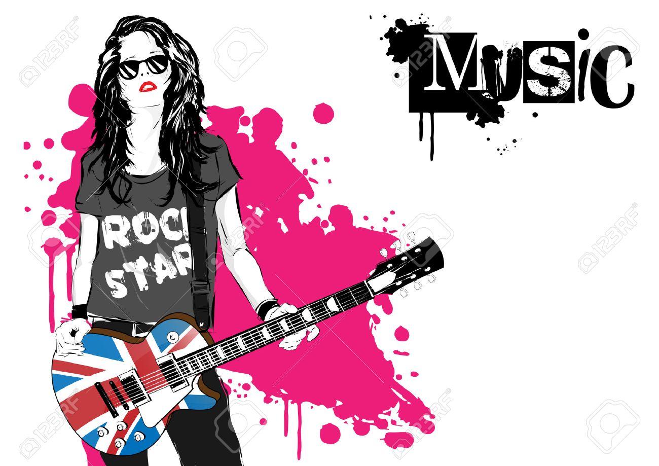 beautiful-musician-playing-guitar-vector-illustration-Stock-Photo